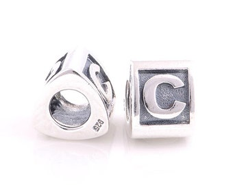 "Sterling Silver 925 Alphabet Letter initial ""C"" block bead for all European Bracelet fits Pandora"
