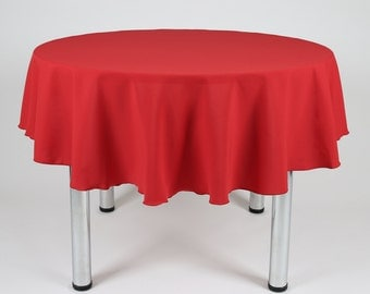 Red Round Tablecloth - Made from polyester fabric not cotton.