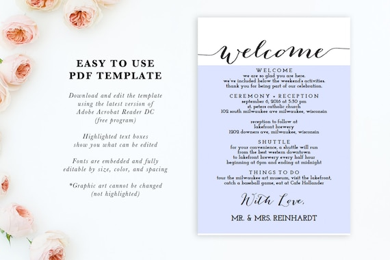 Printable Wedding Itinerary Template Wedding Weekend