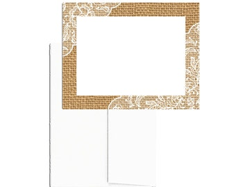 24 PRINTED Note Cards with Envelopes, Burlap & Lace