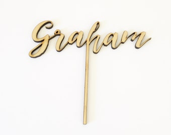 Custom Name Wood Cake Topper for Birthday Party, Baby Shower and Special Event.