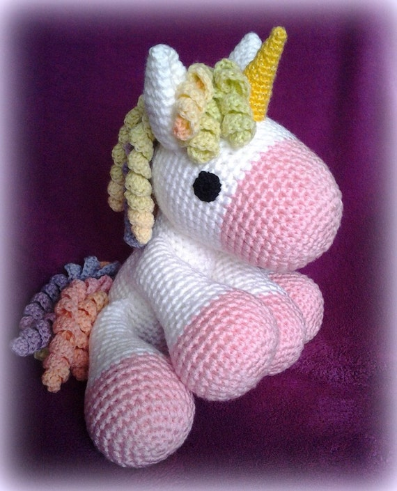 Crochet Unicorn XXL rose by CrochetlandRV on Etsy