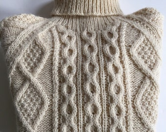 Vintage IRISH ARAN Fisherman Wool Sweater Cable Knit Turtle Neck | John Molloy | Made in Ireland | Size Small