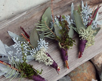 custom boutonniere, feather boutonniere, dried flower boutonniere, eucalyptus boutonniere, rustic boutonniere, boutonniere set, woodland