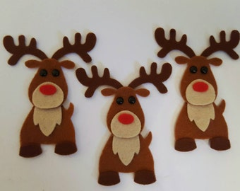 x3 Felt Rudolph Embellishments. Christmas die cuts.  Christmas card making.christmas craft embellishments.christmas crafts.free p&p