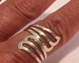 Sterling Silver Ring 925 Open Work BypassRing Size 7 Adjustable Jewelry