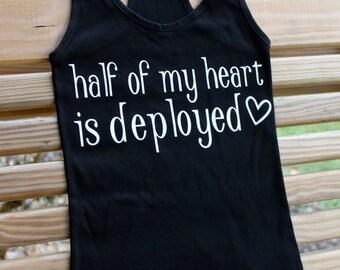 half of my heart is deployed tank top