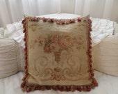 Stunning Antique Huge French Aubusson Roses Pillow Romantic Paris Pillow