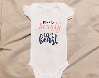Mommy's Beauty Daddy's Beast Onesie, Soon to be Mommy, Soon to be Daddy, Gentleman Onesie, Mommy and Daddy Onesie