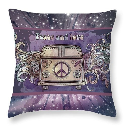 Boho Chic Throw Pillow Peace And Love Hippie Van Abstract