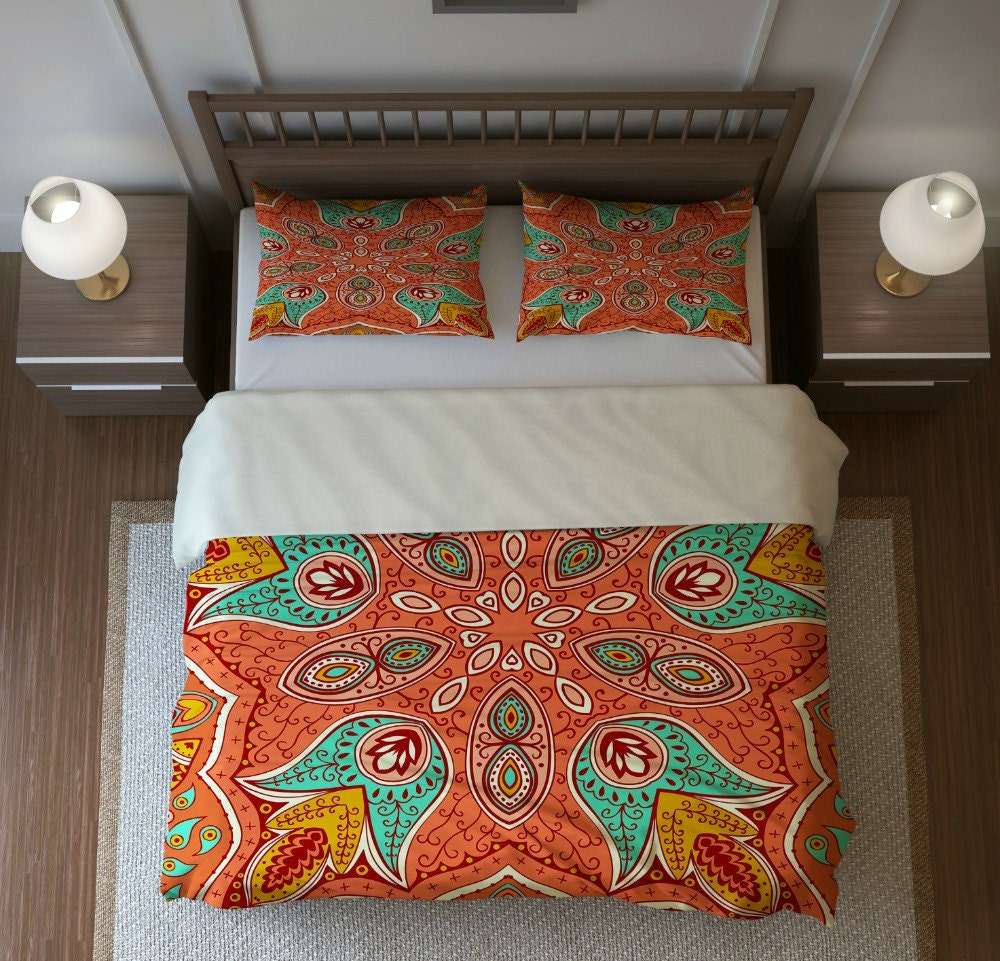 Boho Chic Bedding Duvet Cover Set Mandala Floral by