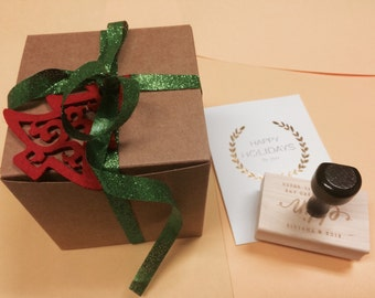 STAMP BUNDLE - 2 Custom Return Address Stamps w/ Gift Wrap  - Available in Self-inking or Wooden Handle