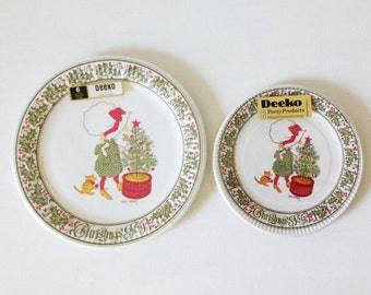 Vintage Holly Hobbie 1960s Christmas paper plates