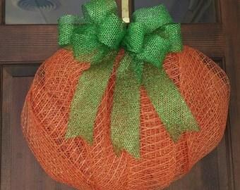 Deco Mesh Pumpkin Wreath, Fall Pumpkin Wreath, Thanksgiving Wreath, Deco Mesh Pumpkin