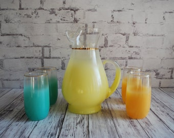 Gorgeous Lemonade Set Blendo Pitcher and Four Glasses, Orange, Turquoise, Mid Century Bar,  Unused N