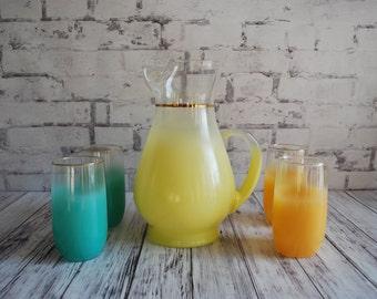 Gorgeous Blendo Pitcher and Four Glasses, Orange, Turquoise, Mid Century Bar,  Unused New Condition, Original Manufacturers Sticker