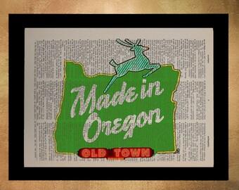 Made in Oregon Sign Dictionary Art Print Portland Oregon Pdx Wall Art Home Decor Portland Poster Gift Ideas da379
