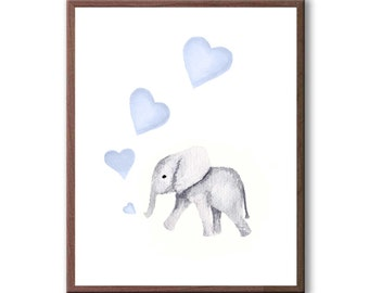 New Baby Boy Wall Art, Boys Elephant Nursery Art, Baby Elephant, Boys Room Art, Elephant Painting, Art Print - E292W