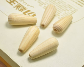 20pcs Natural Wood water drops wooden beads,wood teardrop shape beads,Vase Shaped beads Unfinished Wooden beads - 44x17mm