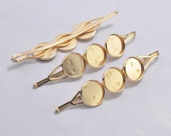 Gold Hiar Clips,Gold bobby pins with 12mm Round pad Cabochon base setting,Hair clip blanks,hair pin tray,71mm Long.