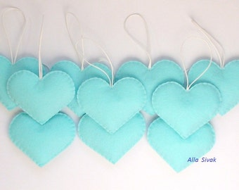 Baby Blue Heart Decoration,  Heart Felt, Sweet Hearts Valentine, wedding ornaments, office and home decor/gift, 10 Wedding Heart Ornaments