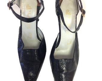 Lanvin Black Floral Paisley Vintage Heels - Size 7B
