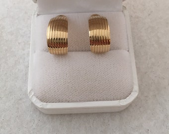 14K Fine Gold Ribbed Hoop Jackets for Post Earrings