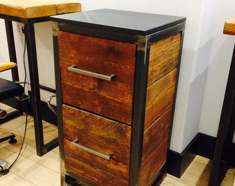 Industrial Mill Style Reclaimed Wood Two Drawer Cabinet