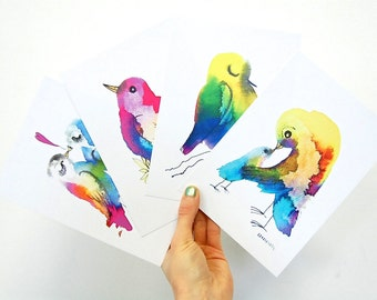 A5 artprints, bird prints, colorful birds, birth, valentines day, mothers day, birthday, set of 4