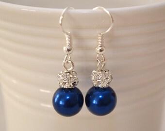 Navy Pearl Rhinestone Wedding Earrings - Bridal Jewelry  - Elegant Pearl Earrings - Pearl Drop Earrings - Bridesmaids - Mother of the Bride