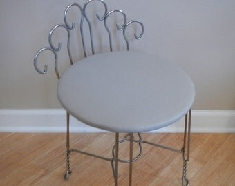 vintage vanity stool with twisted metal legs 1950s tan vinyl seat home decor
