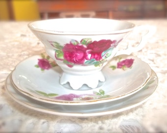 Vintage Teacup~Vintage Footed Teacup & Saucer~Mix And Match Teacup and Saucer~Shabby Pink Roses~Shabby Chic Teacup~Cottage Decor