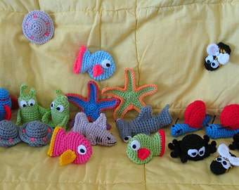 Crocheted finger puppets - Garden, Ocean or Space sets