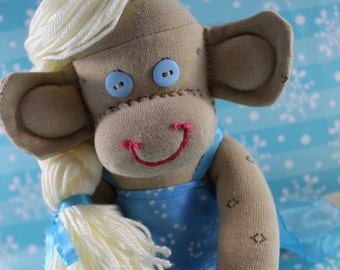 Sock Monkey / Elsa Frozen Inspired / Elsa / Disney Princess / Frozen Birthday / Elsa Toy / Elsa Plushie / Baby Shower Gift / Unique Gift
