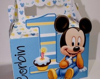 LG Baby Mickey Mouse  Cupcake 1st Birthday Treat Box #1 Sets-Baby Mickey Mouse-Birthday Treat Boxes-Birthday