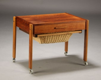 Lovely Teak Sewing table, nightstand, bedside table, Mid-Century, Denmark