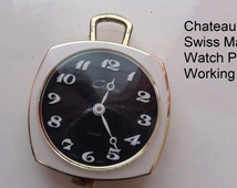 Vintage Watch Pendant Chateau Swiss Made Women Pocket Watch, Works, 1960's - On SALE Now!