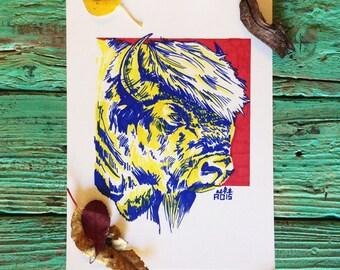 Colorful Buffalo Illustration