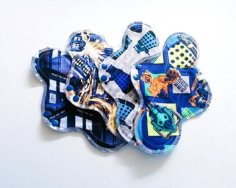 Doctor Who Cloth Pads ~ Reusable Pads ~ Cloth Panty Liners ~ Mama Cloth Set ~ Feminine Products ~ Cotton Sanitary Napkins ~ Cloth Pad Sets