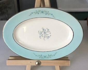 Turquoise White Platter Homer Laughlin Platter Aqua Blue White Plate Oval Plate Mid Century Plate Seafood Dish Sushi Plate Vintage Platter