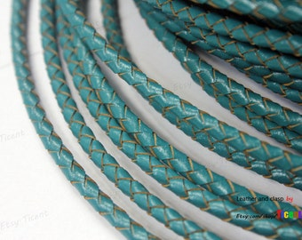 4mm Round Teal Bolo Leather,Braided Bolo Leather Strap, BP4M-52