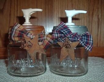 Primitive Country Farm House Glass 1/2 Pint Mason Jar SOAP/LOTION DISPENSER