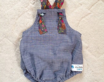 Chambray Baby Romper , Chambray Toddler Romper , Chambray Romper , Chambray Sunsuit , Chambray Baby Clothing , Floral Romper , Chambray