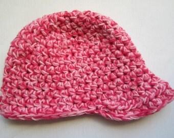 Pink newsboy hat- crocheted beanie with brim - newsboy hat