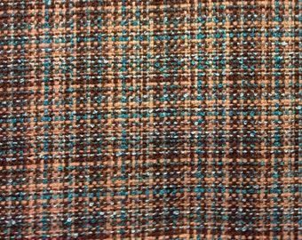 Brown, Tan and Turquoise Plaid Suiting Fabric-By-The-Yard