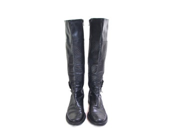 COLE HAAN riding boots black leather boots tall boot knee high silver buckle vintage 90s boots low heel hipster boho rubber soles 5 1/2 5.5