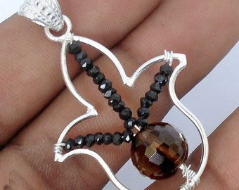 Pendant 925 sterling silver Smoky quartz
