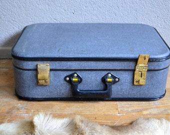 Suitcase old vintage retro 40s vinyl Bohemian old suitcase English deco pastboard trunk midcentury bohemian deco