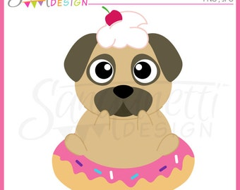 pug clipart, donut clipart, dog clipart, puppy clipart, sweet clipart, doughnut clipart, sprinkles clipart,Instant download