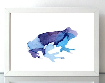 Blue Frog Watercolor illustration - frog art - purple blue Print - Home decor Wall Art - boys room - blue decor - frog silhouette